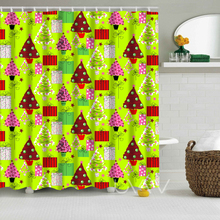 Christmas Printing Waterproof Polyester Shower Curtain