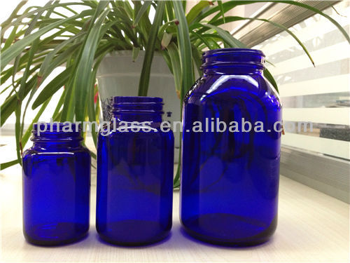Amber wide mouth pharmaceutical glass packaging bottle