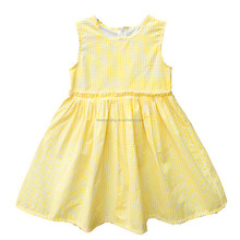 Wholesale summer plaid yellow little girls puffy dress