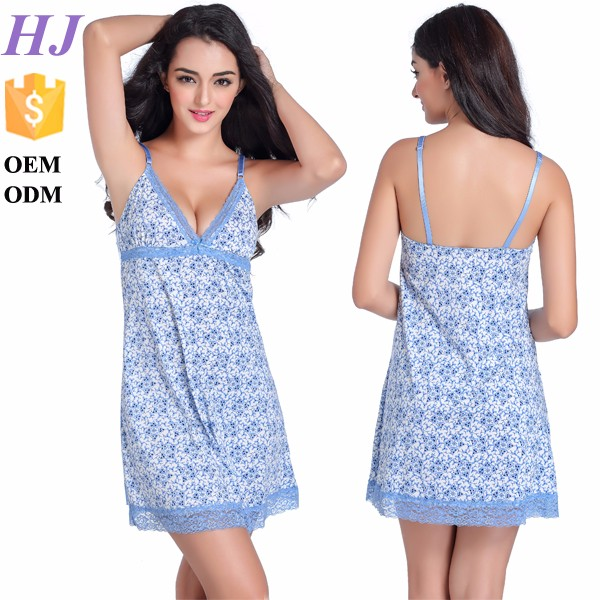 2016 lady dress size sleeveless babydoll lingeries sexy blue nighty