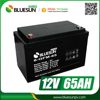 Bluesun deep cycle gel dry cell battery 12v 65ah with ISO CE ROHS