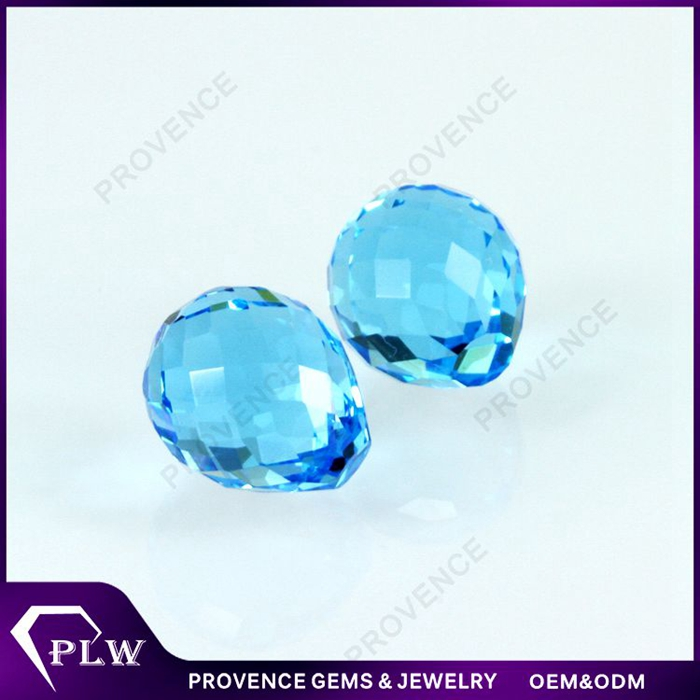 Wholesale Price Water Drop Aquamarine Synthetic Glass Bead for Curtains