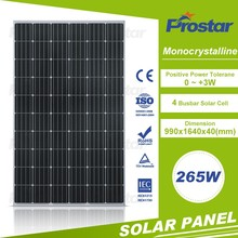 25 years Reliable monocrystalline 265wp pet laminating solar panel for sale
