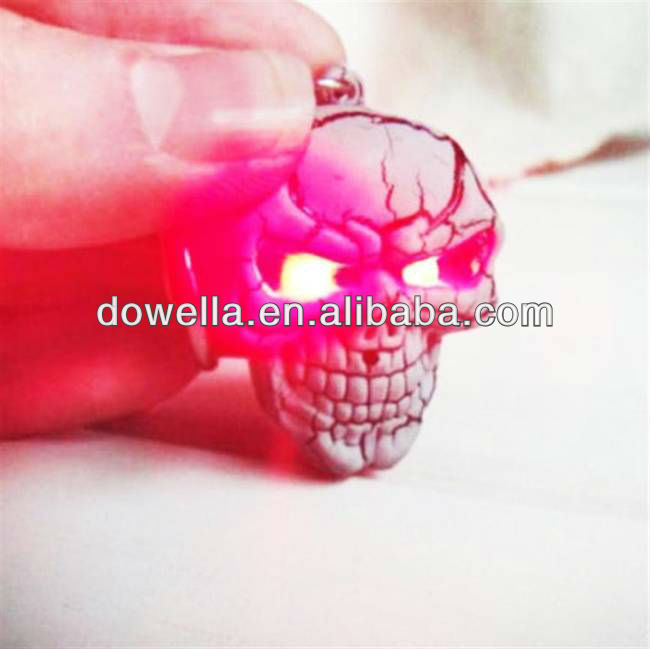 Led Skull keychain with sound,plastic LED sound keychain