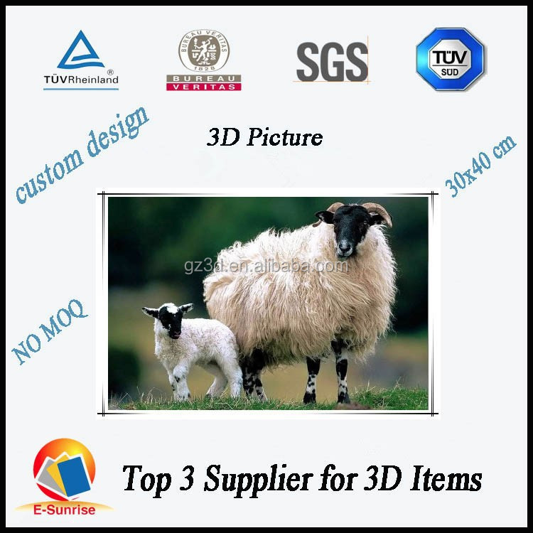 Beauty and hot selling animal 3d lenticular picture for home decorations