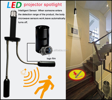led <strong>projector</strong> spotlight with sensor,new product for 2016, radar sensor advertising spotlight for shop or market,custom logo