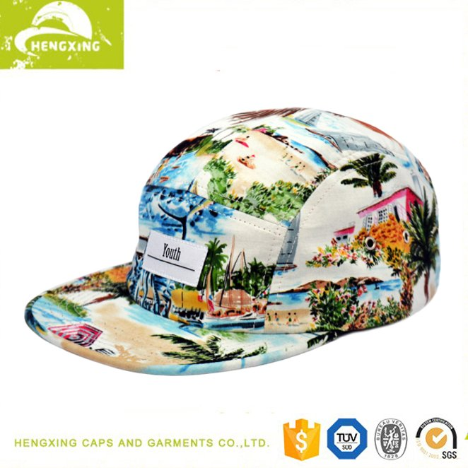 Floral design your own custom hat 5 panel custom hat wholesale