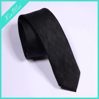Plain Black Polyester Stripe Suit Shirt Tie