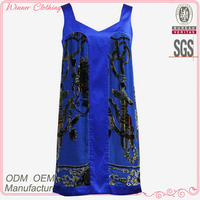 100% navy blue sleeveless contrast flocking velvet pattern design silk dress