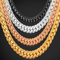 U7 6MM Miami Chain HipHop Black / Silver 18K Gold Plated Necklace Jewelry Gift Choker/ Long Gold Chain for Men