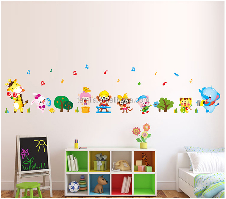 Cute Cartoon Animal Music Band PVC Custom Cartoon Wall Sticker