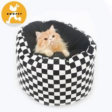 Black and white check pattern round metal dog bed/pet dog bed and cats