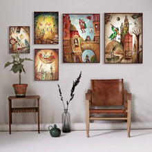 Vintage Retro Fantasy City Dream Boat Star A4 Poster Print Abstract Fairy Wall Art Pictures Home Decor Canvas Paintings No Frame