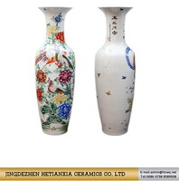 Modern style excellent quality famille rose ceramic big vase with flowers for home decor
