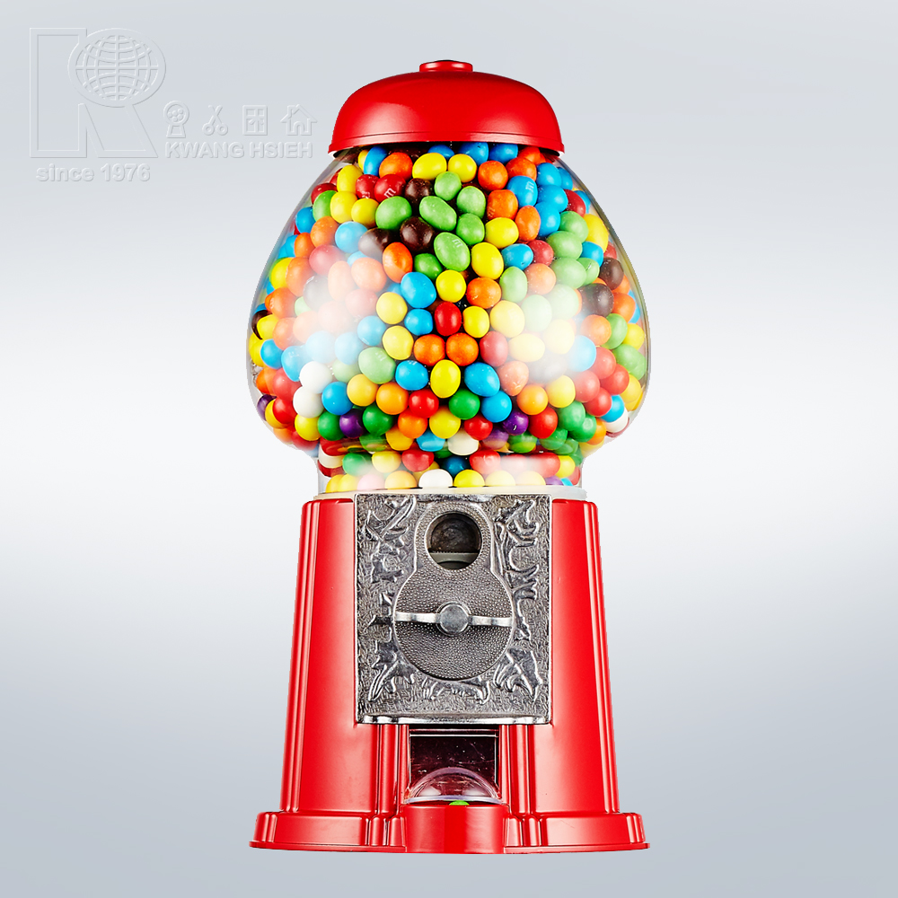 Kwang Hsieh 15 Inch Red Metal Classic Vantage Gumball Machine