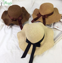 Qingdao Promotion Cheap Female Paper Straw Beach Floppy Hats