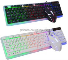 New material waterproof 102 key gaming keyboard mouse combo factory supply gaming keyboard and mouse