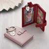 Photograph Book Keyring Shape Leather Mini Double Photo Frame