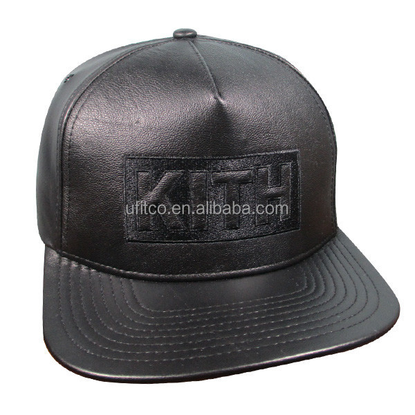 2015 high quality wholesale 5 panel whole genuine leather with embroidery logo leather snapback hats custom