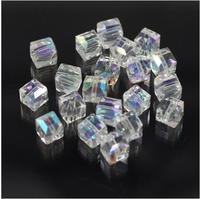 Cube shaped faceted crystal glass loose beads for jewelry making