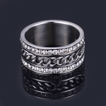 Factory wholesale couple crystal engagement ring finger link chain ring for men