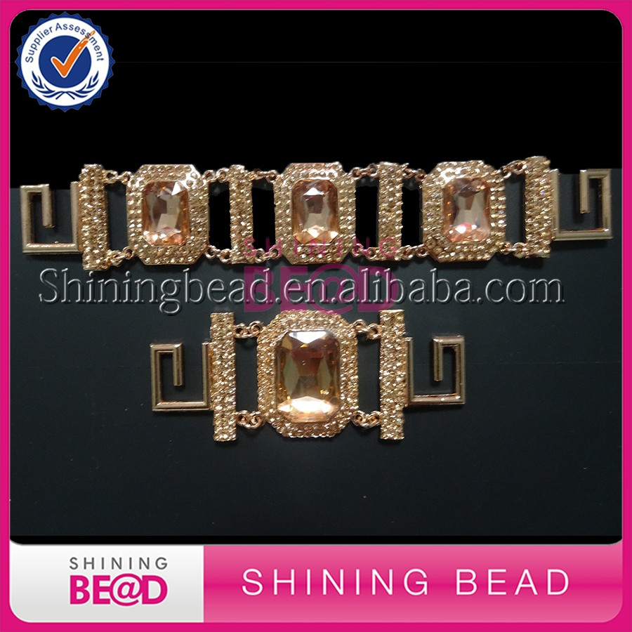 2017 New Design Roes Gold Plating Light Peach Glass Rhinestone Bikini Connector/Buckle For Bikini