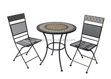 Outdoor Mosaic Bistro Tea Table and Chair Set Morocco S/3