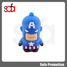 2015 hotsale cartoon character captain america PVC usb flash drive