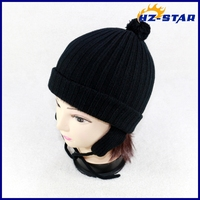 HZM-14195002 warmer fashion baby pompom free knit pattern for hat earflaps