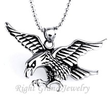 Vogue Domineering Men's Stainless Steel Silver Eagle Chain Pendant Necklace
