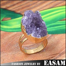 China wholesale adjustable natural amethyst druzy ring/agate druzy ring