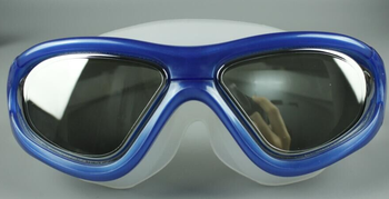 Mirrored caoted one piece lenses anti uv branding logo swimming goggles