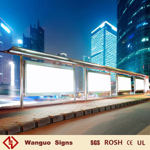 Outdoor advertising backlit LED light box on bus shelter