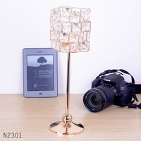 35cm High Luxury Cube Chroming Metal Base Crystal Candle Holder
