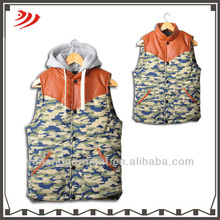 camouflage quilted waistcoat for men design with dismountable hood