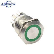 F315 22mm IP67 1NO1NC 12V blue Illuminated Led Momentary Metal Pushbutton Switches