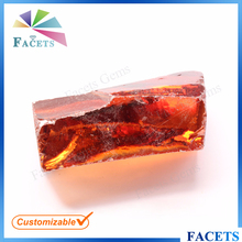 FACETS GEMS Synthetic Rough Gemstone Orange Cubic Zirconia Raw Material