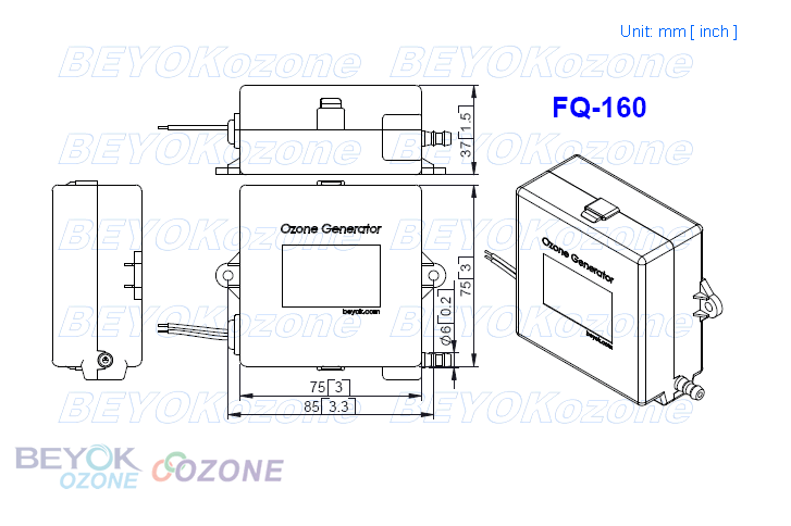 FQ-160 Integrated Ozone Generator Cell for Washing Machine