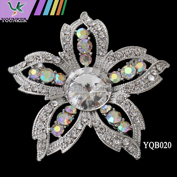 Zinc alloy bulk flower bouquet bridal brooch rhinestone crystal brooch frames