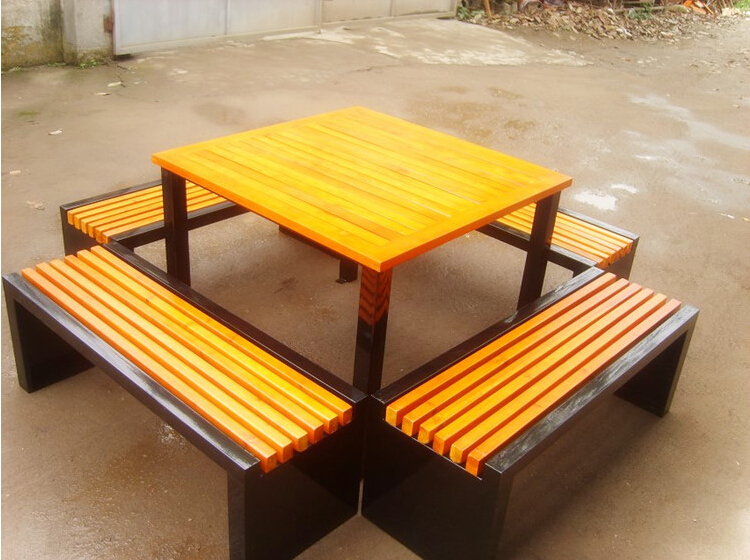 Outdoor Furniture Cheap Design Metal Frame Waterproof Wpc Wooden 2 Seat Bench With Table Buy