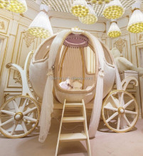 Royal Crown Cinderella Pumpkin Coach Bed, Luxury Princess Carriage Children Bed (BF01-70299)