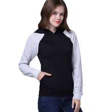 Fashion Women Pullover Hooded Sweatshirt Ladies Sports Cheap Black Grey Patchwork Blank Wholesale Plain Hoodies