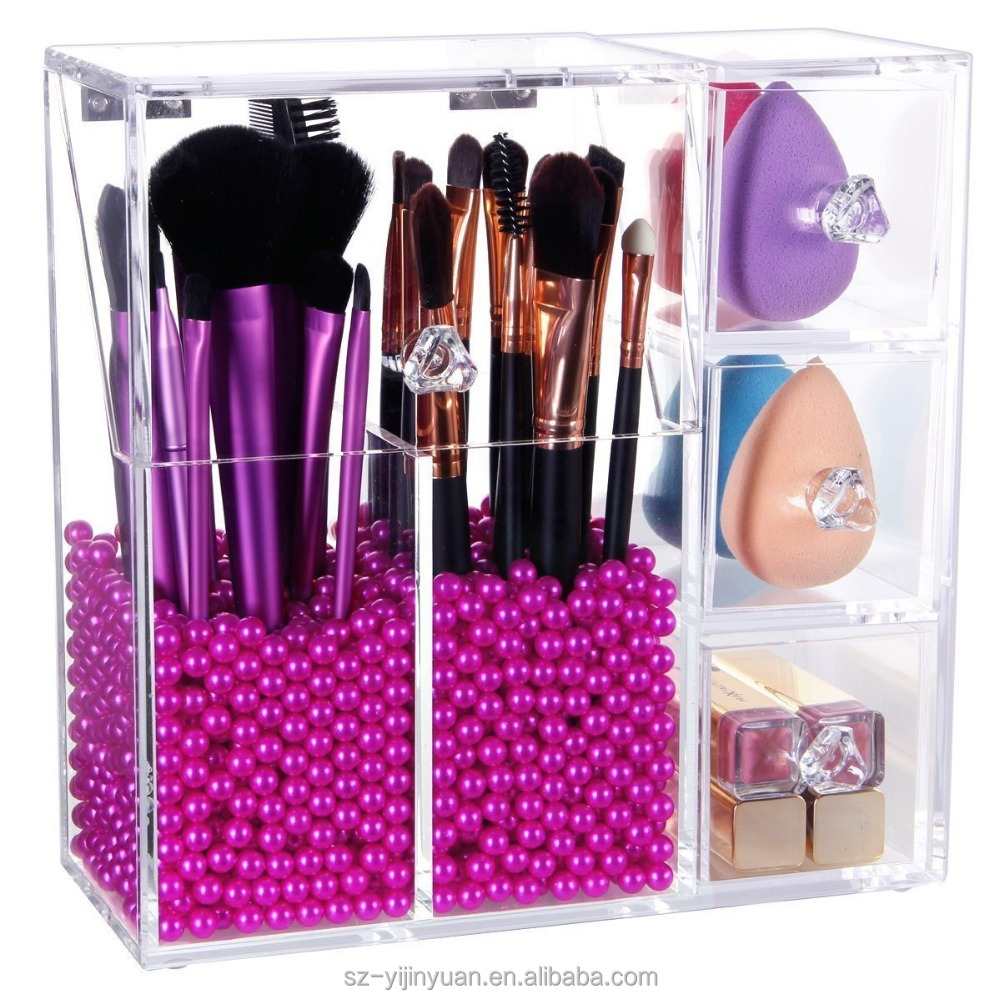 Make up Brush Holder Dustproof Acrylic Storage Box Makeup Organizer, Pink Pearl, Small, 37.39 Ounce Upgraded Version
