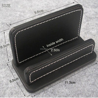Leather Business Name Card Organizer Desktop Card Stand Capacity 60 Cards