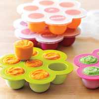 HOT Sale Made of 100% Food Grade Silicone Baby Food Storage with plastic lid