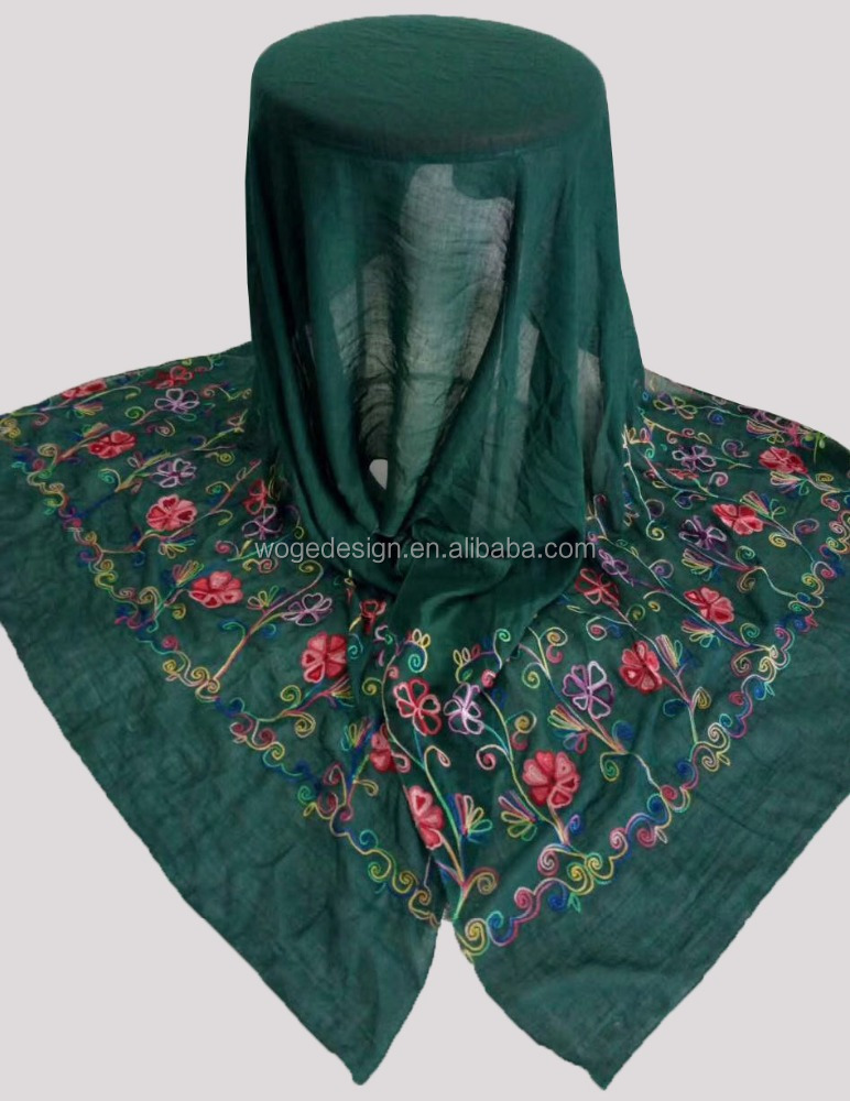 China honesty supplier vintage islamic dropship ladies green kerchief echarpe heart floral embroidery viscose muslim scarf hijab