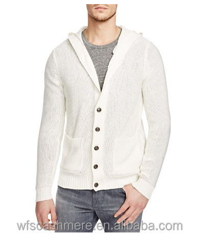 White Hooded Cardigan Cashmere&Cotton blended Sweater for men