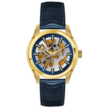 private label low moq genuine leather mens skeleton watch