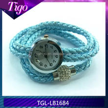Magnetic rhinestone closure triple wrap bracelet with watch