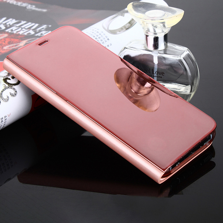 Hot selling Sleep leather case for samsung S8 smart leather case mirror leather case